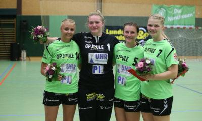 Carolin Hauschild, Sophie Petersen-Kröger, Svea Lundelius und Denise Fries bei ihrer Verabschiedung.